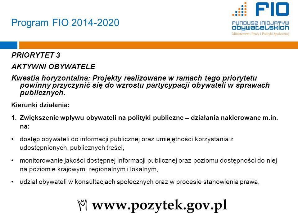 Program FIO 2014-2020 PRIORYTET 3 AKTYWNI OBYWATELE