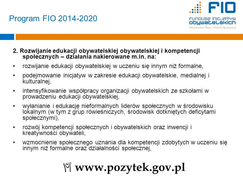 Program FIO 2014-2020 2. Rozwijanie edukacji obywatelskiej obywatelskiej i kompetencji społecznych – działania nakierowane m.in. na: