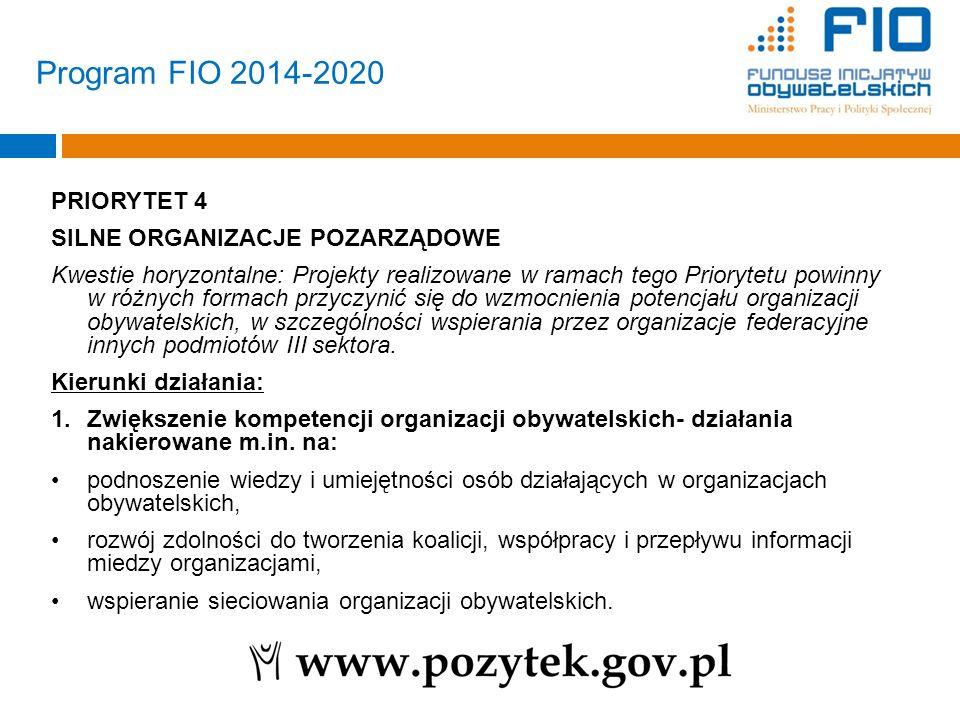 Program FIO 2014-2020 PRIORYTET 4 SILNE ORGANIZACJE POZARZĄDOWE