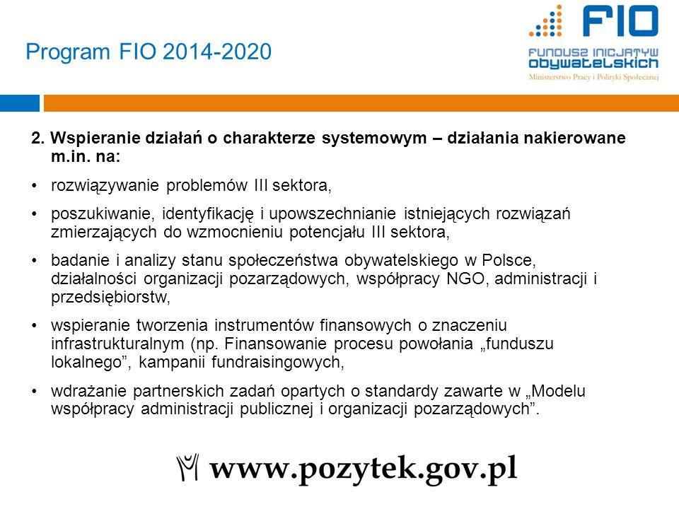 Program FIO 2014-2020 2. Wspieranie działań o charakterze systemowym – działania nakierowane m.in. na: