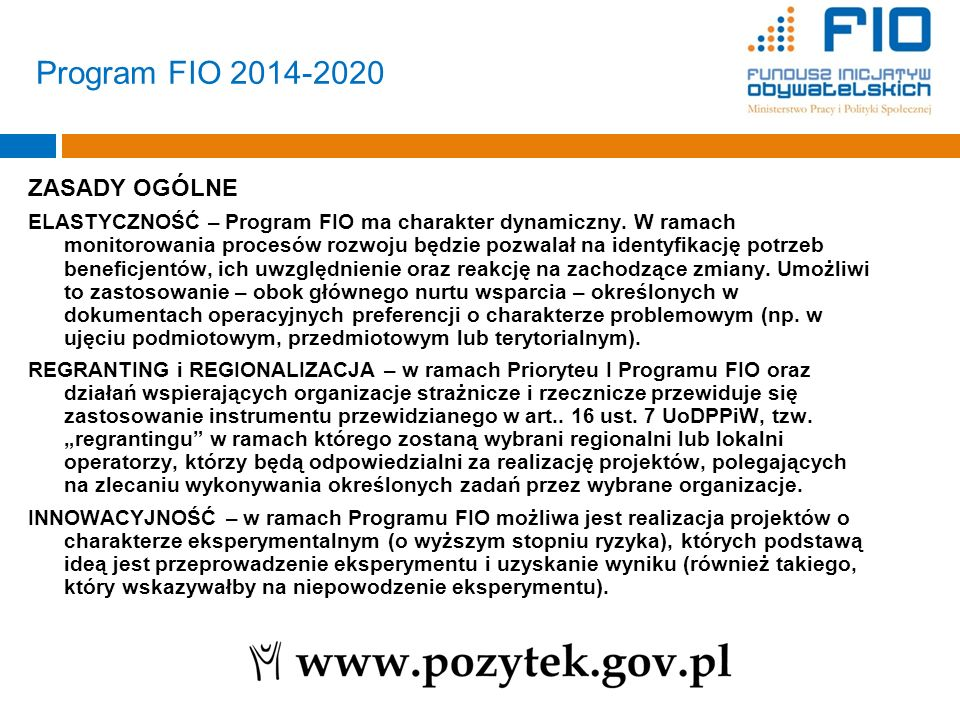 Program FIO 2014-2020 ZASADY OGÓLNE