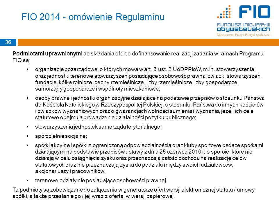 FIO 2014 - omówienie Regulaminu