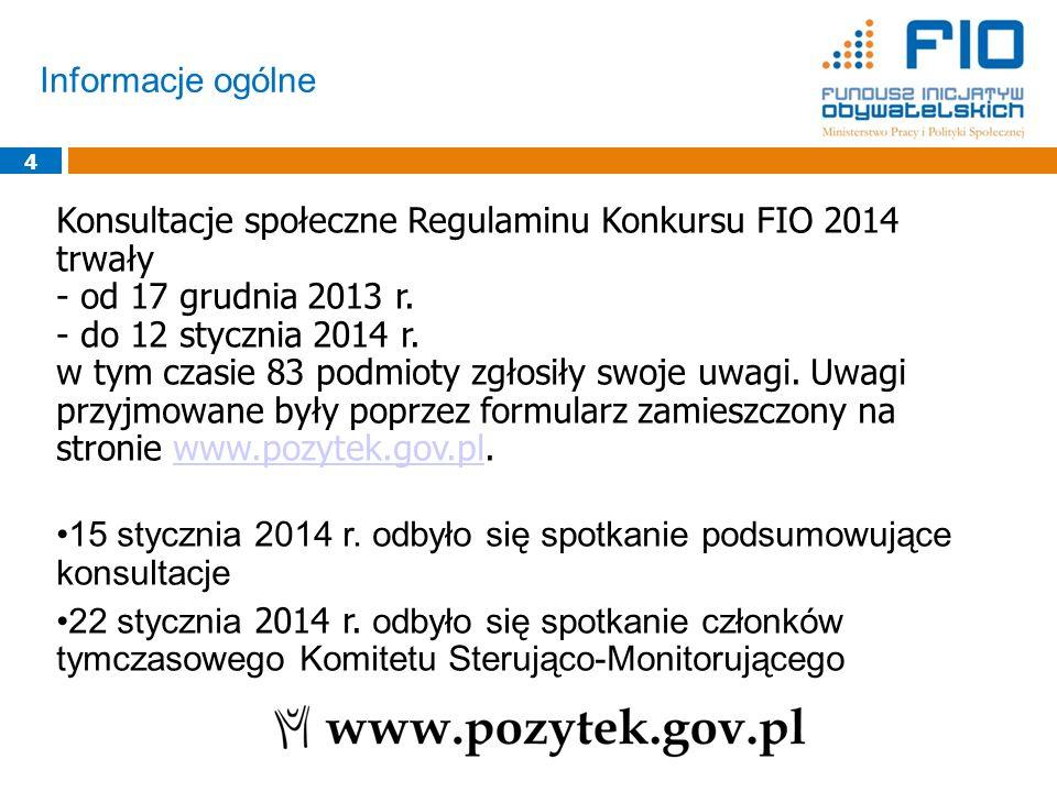 Konsultacje społeczne Regulaminu Konkursu FIO 2014 trwały