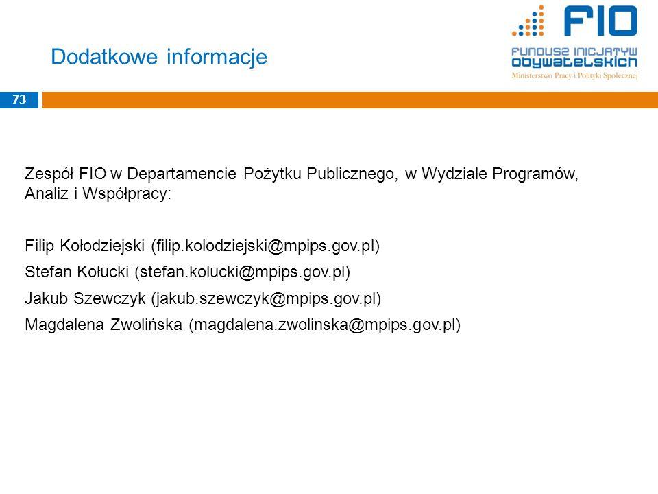 Dodatkowe informacje 73. Zespół FIO w Departamencie Pożytku Publicznego, w Wydziale Programów, Analiz i Współpracy: