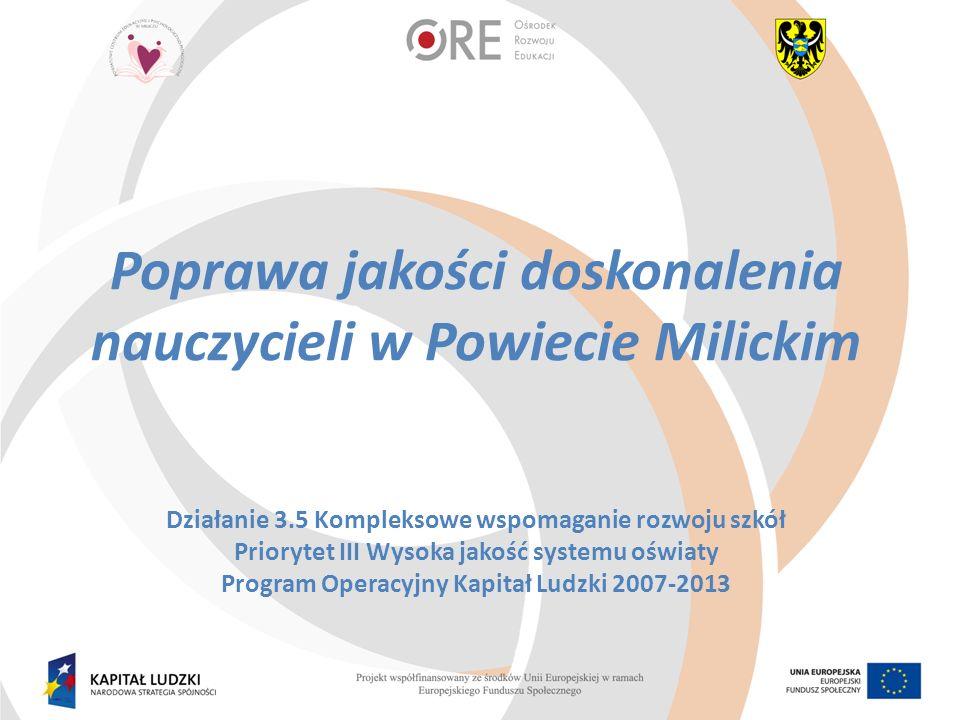 Poprawa jakości doskonalenia nauczycieli w Powiecie Milickim Działanie 3.5 Kompleksowe wspomaganie rozwoju szkół Priorytet III Wysoka jakość systemu oświaty Program Operacyjny Kapitał Ludzki 2007-2013