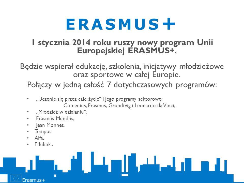 1 stycznia 2014 roku ruszy nowy program Unii Europejskiej ERASMUS+.