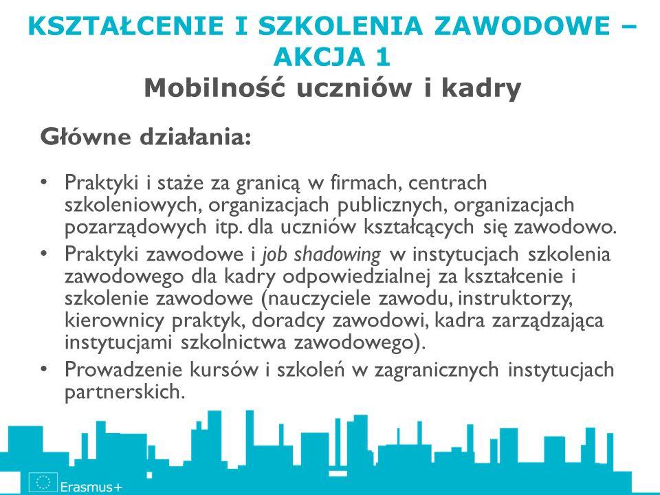 KSZTAŁCENIE I SZKOLENIA ZAWODOWE – AKCJA 1 Mobilność uczniów i kadry