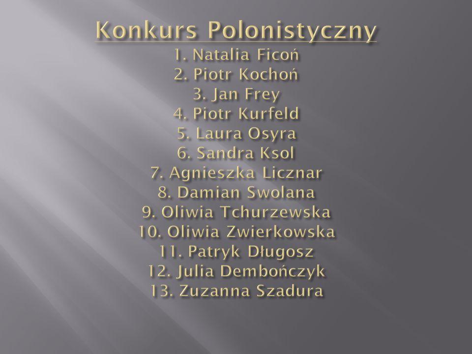 Konkurs Polonistyczny 1. Natalia Ficoń 2. Piotr Kochoń 3. Jan Frey 4