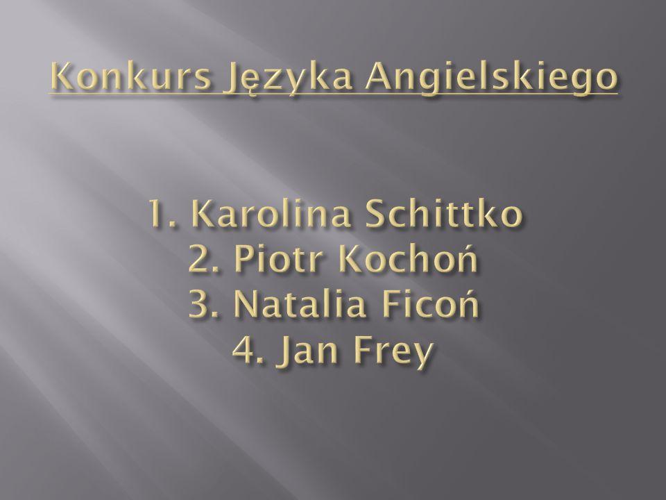 Konkurs Języka Angielskiego 1. Karolina Schittko 2. Piotr Kochoń 3