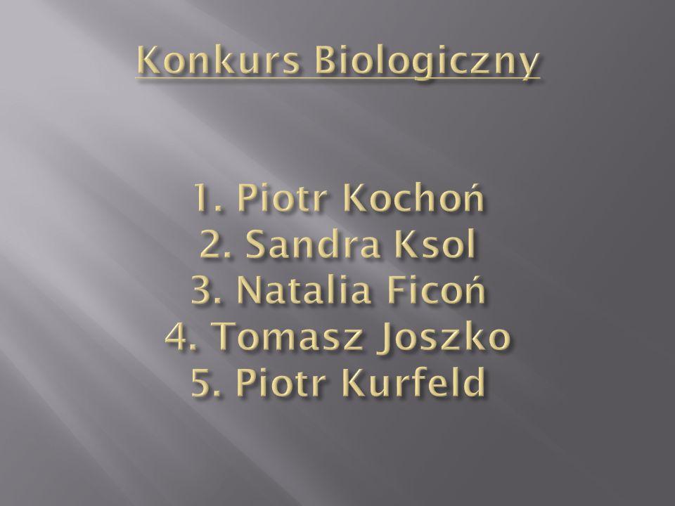 Konkurs Biologiczny 1. Piotr Kochoń 2. Sandra Ksol 3. Natalia Ficoń 4