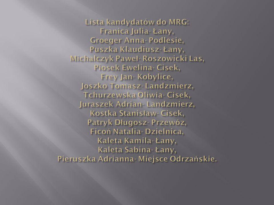 Lista kandydatów do MRG: Franica Julia- Łany, Groeger Anna- Podlesie, Puszka Klaudiusz- Łany, Michalczyk Paweł- Roszowicki Las, Piosek Ewelina- Cisek, Frey Jan- Kobylice, Joszko Tomasz- Landzmierz, Tchurzewska Oliwia- Cisek, Juraszek Adrian- Landzmierz, Kostka Stanisław- Cisek, Patryk Długosz- Przewóz, Ficoń Natalia- Dzielnica, Kaleta Kamila- Łany, Kaleta Sabina- Łany, Pieruszka Adrianna- Miejsce Odrzańskie.
