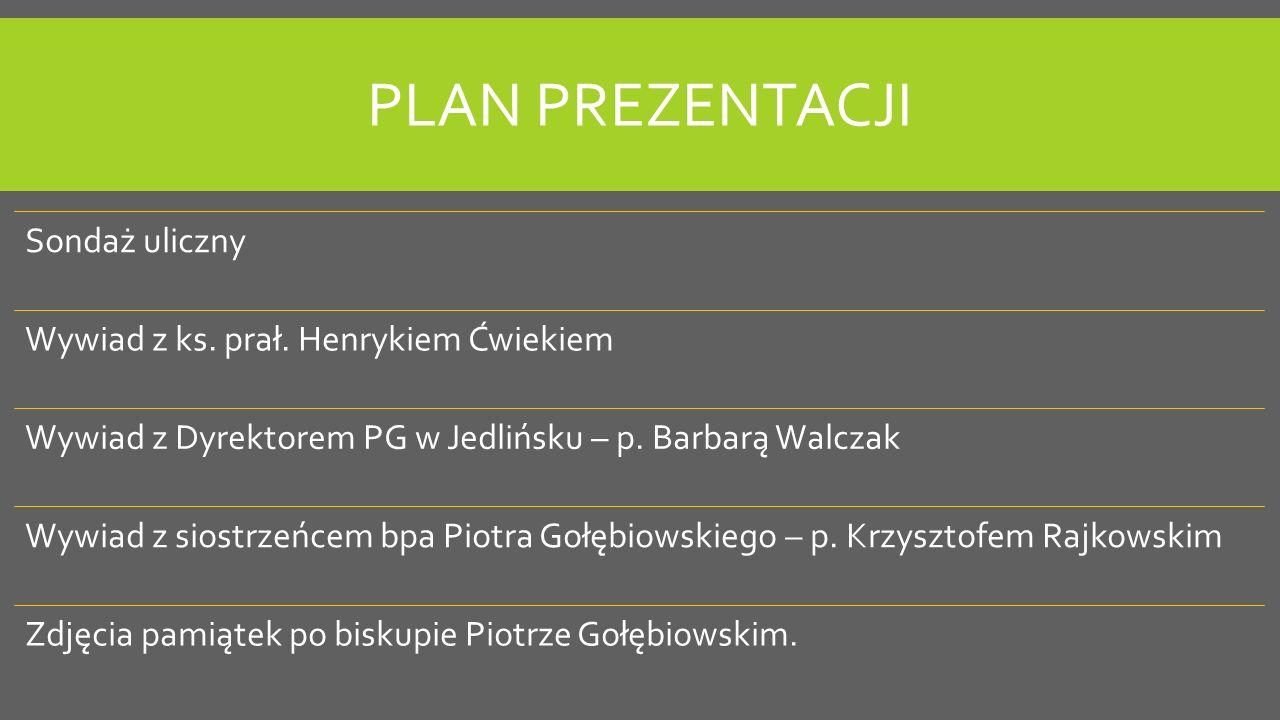 Plan prezentacji Sondaż uliczny Wywiad z ks. prał. Henrykiem Ćwiekiem