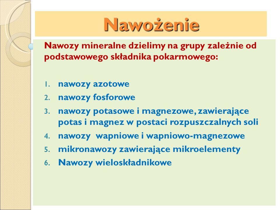 Nawożenie Nawozy mineralne dzielimy na grupy zależnie od podstawowego składnika pokarmowego: nawozy azotowe.