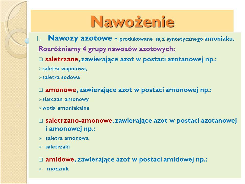Nawożenie Nawozy azotowe - produkowane są z syntetycznego amoniaku.