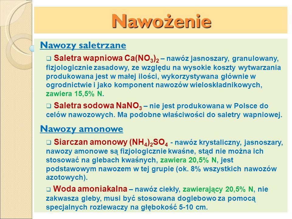 Nawożenie Nawozy saletrzane Nawozy amonowe