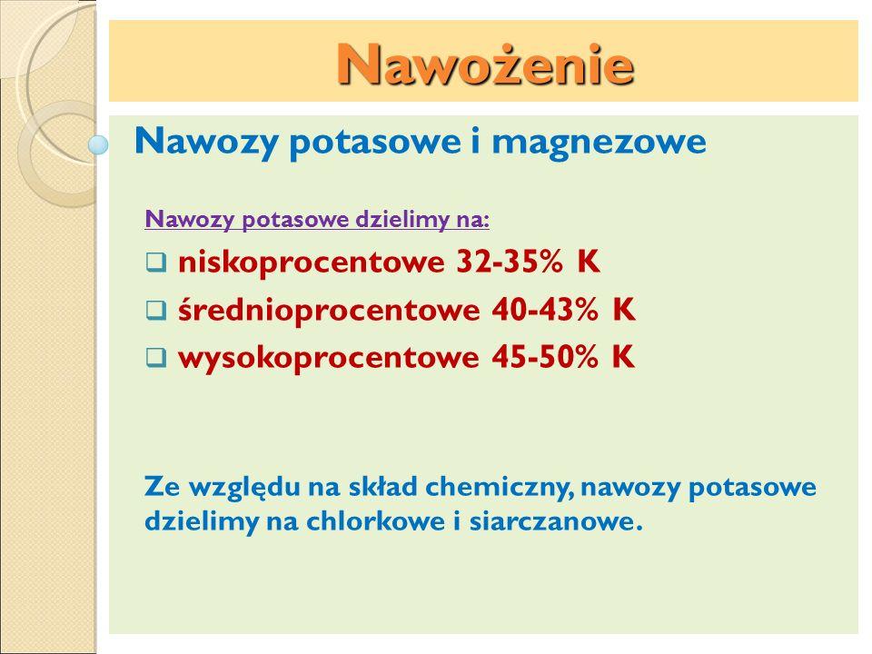 Nawożenie Nawozy potasowe i magnezowe niskoprocentowe 32-35% K