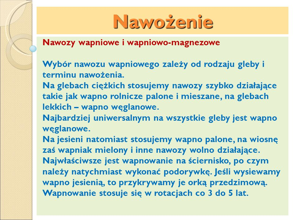 Nawożenie Nawozy wapniowe i wapniowo-magnezowe