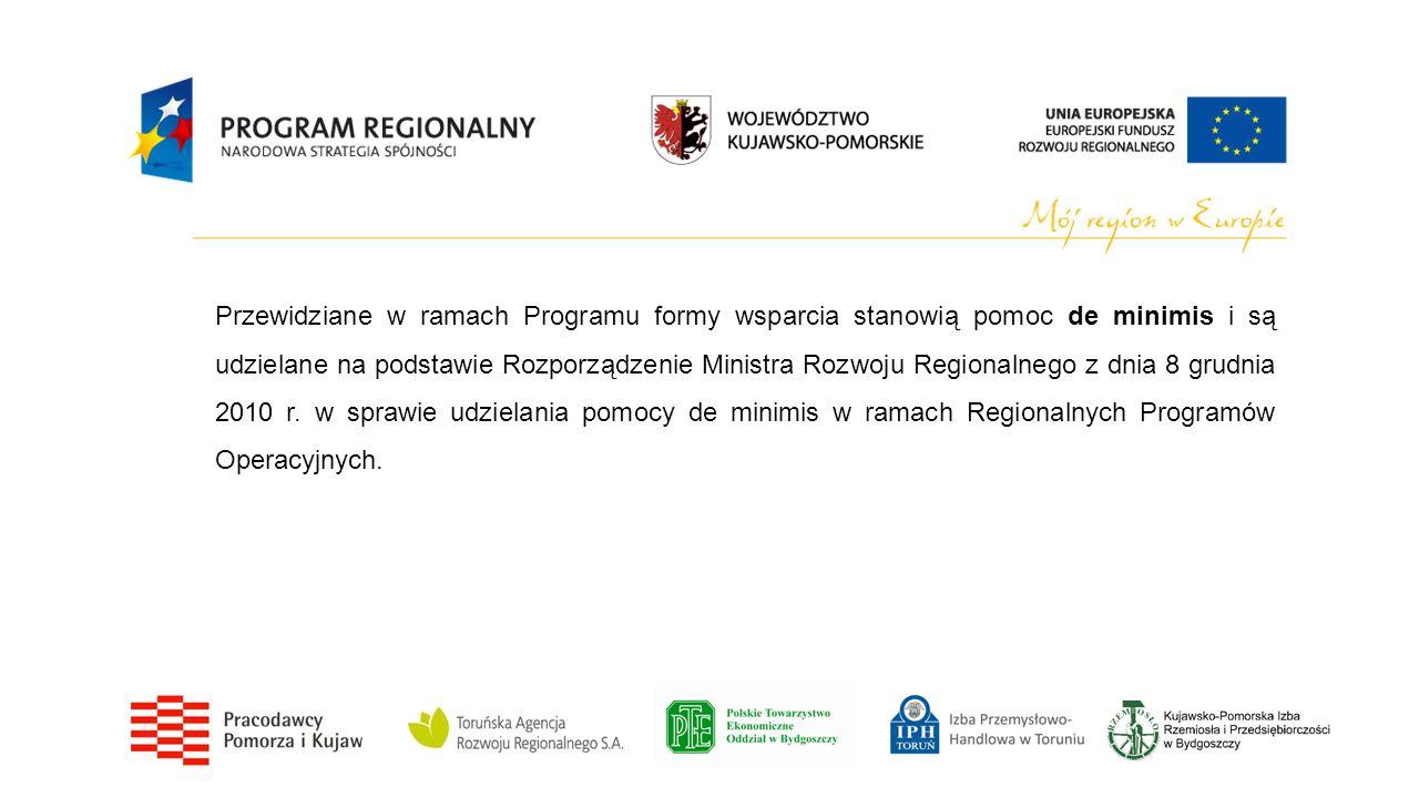 Przewidziane w ramach Programu formy wsparcia stanowią pomoc de minimis i są udzielane na podstawie Rozporządzenie Ministra Rozwoju Regionalnego z dnia 8 grudnia 2010 r.
