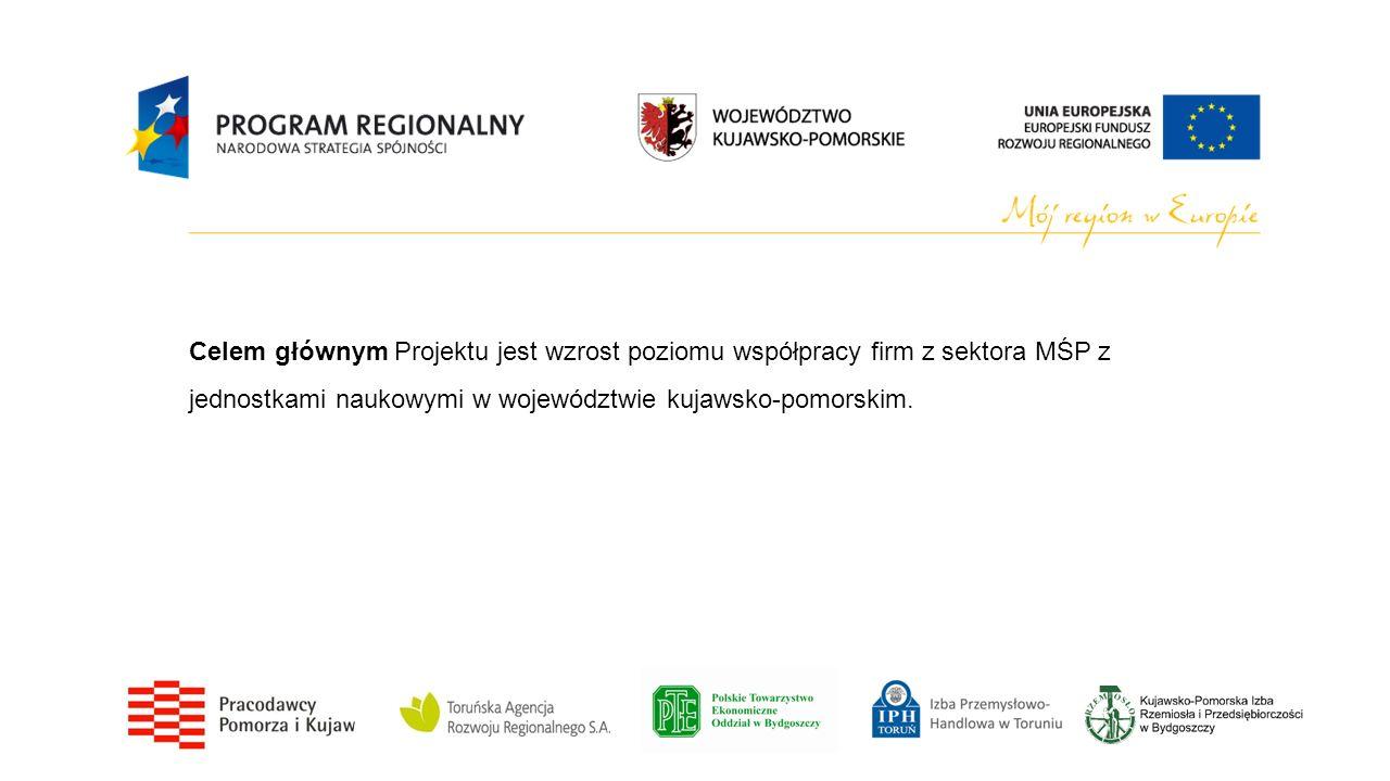 Celem głównym Projektu jest wzrost poziomu współpracy firm z sektora MŚP z jednostkami naukowymi w województwie kujawsko-pomorskim.