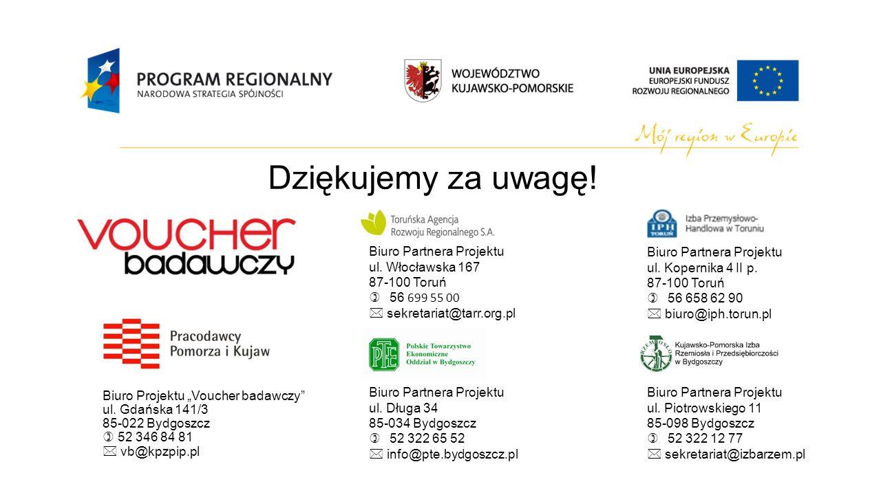 Dziękujemy za uwagę! Biuro Partnera Projektu ul. Włocławska 167