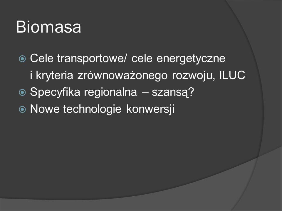Biomasa Cele transportowe/ cele energetyczne