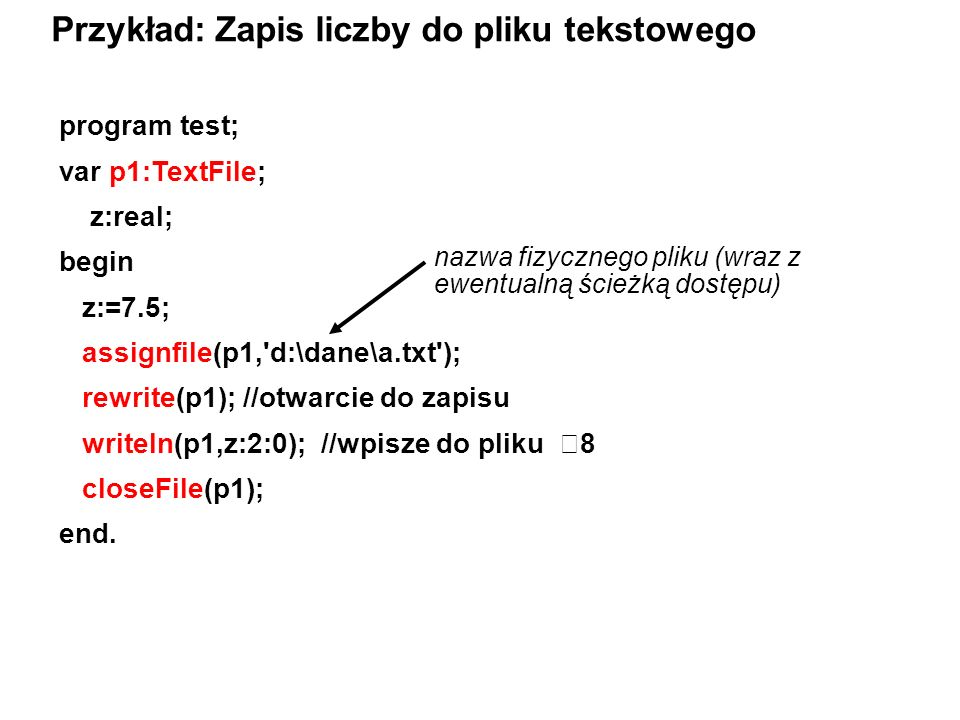 Przykład: Zapis liczby do pliku tekstowego