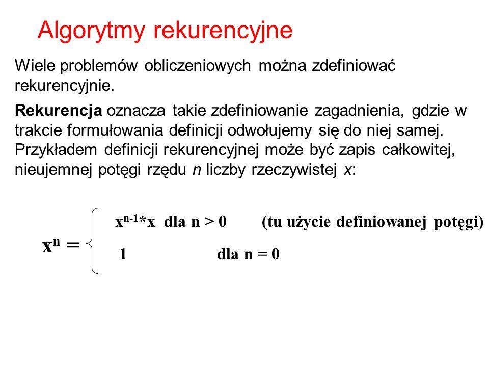 Algorytmy rekurencyjne