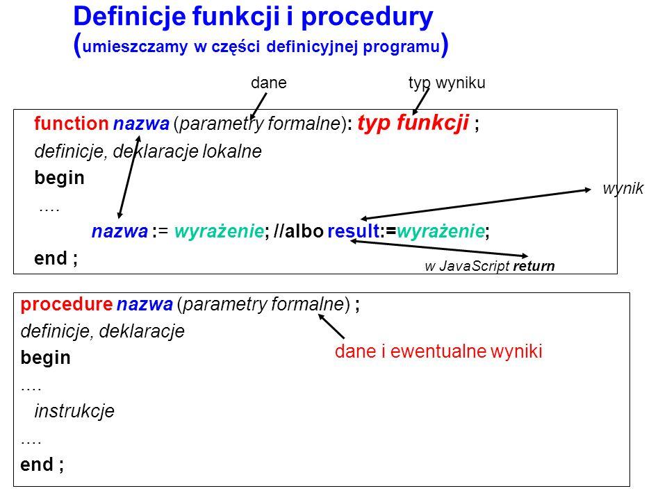 Definicje funkcji i procedury (umieszczamy w części definicyjnej programu)