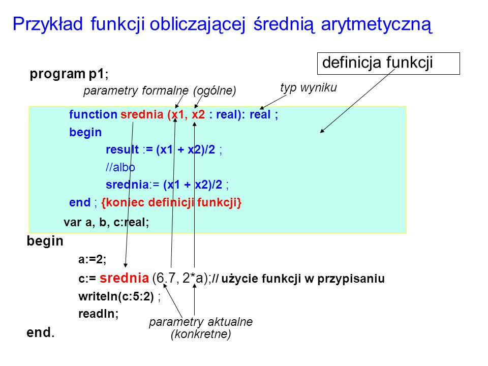 Przykład funkcji obliczającej średnią arytmetyczną