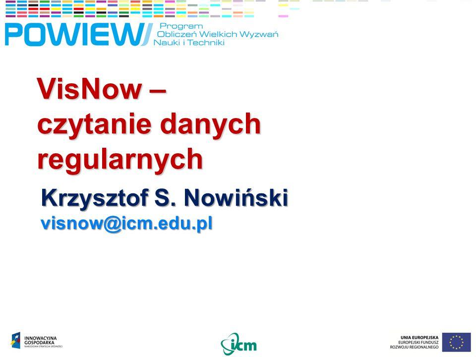 VisNow – czytanie danych regularnych