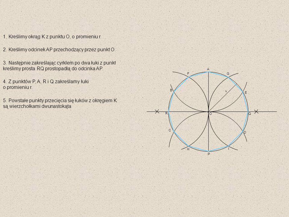 1. Kreślimy okrąg K z punktu O, o promieniu r.