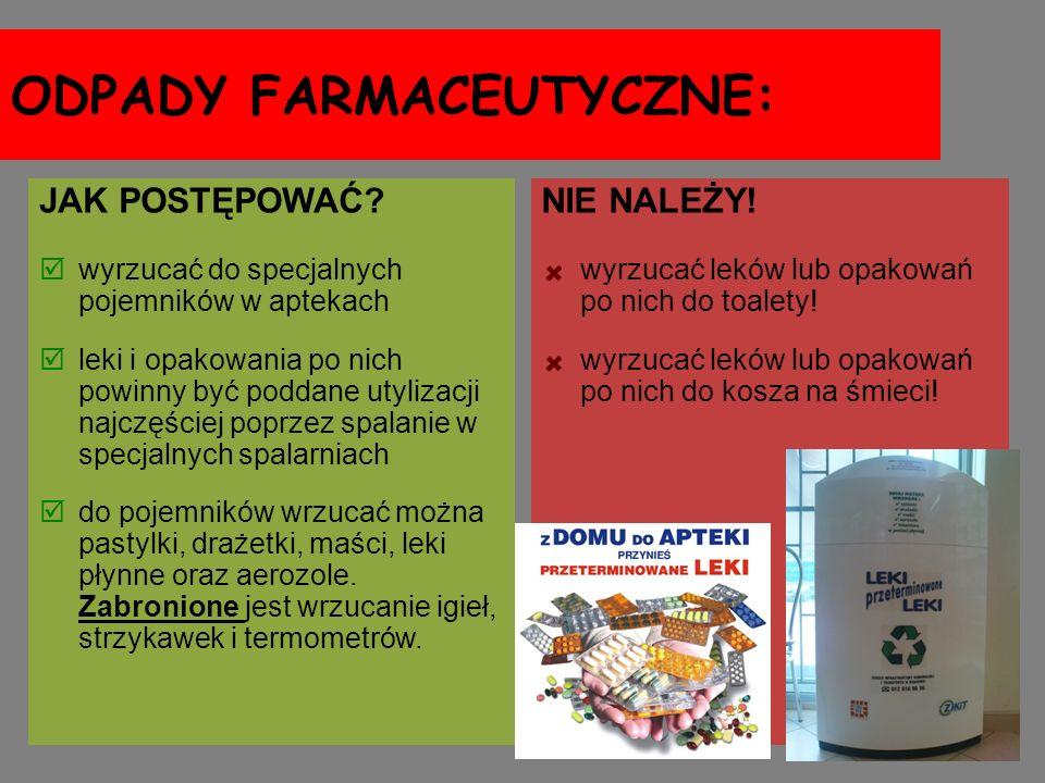 ODPADY FARMACEUTYCZNE: