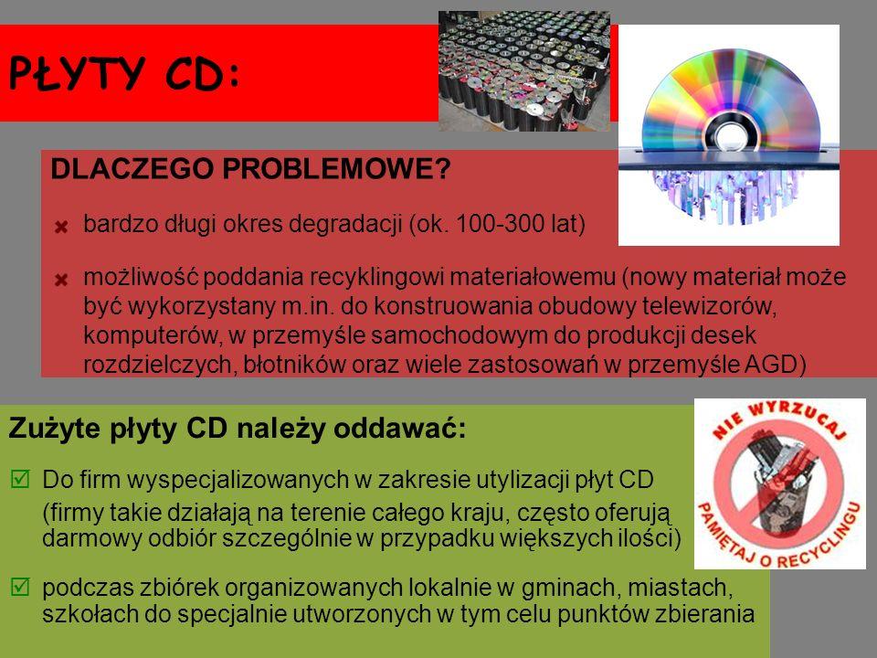 PŁYTY CD: DLACZEGO PROBLEMOWE Zużyte płyty CD należy oddawać: