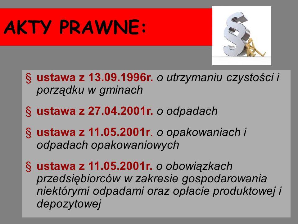 AKTY PRAWNE: ustawa z 13.09.1996r. o utrzymaniu czystości i porządku w gminach. ustawa z 27.04.2001r. o odpadach.