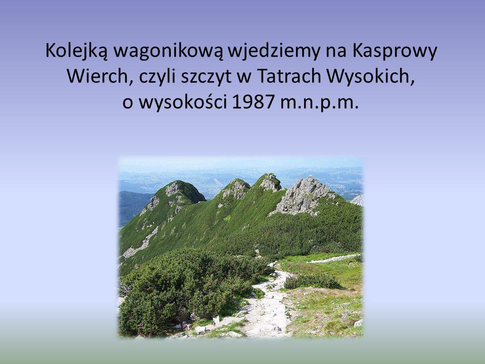 Kolejką wagonikową wjedziemy na Kasprowy Wierch, czyli szczyt w Tatrach Wysokich, o wysokości 1987 m.n.p.m.