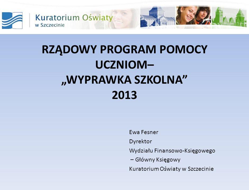 """RZĄDOWY PROGRAM POMOCY UCZNIOM– """"WYPRAWKA SZKOLNA 2013"""
