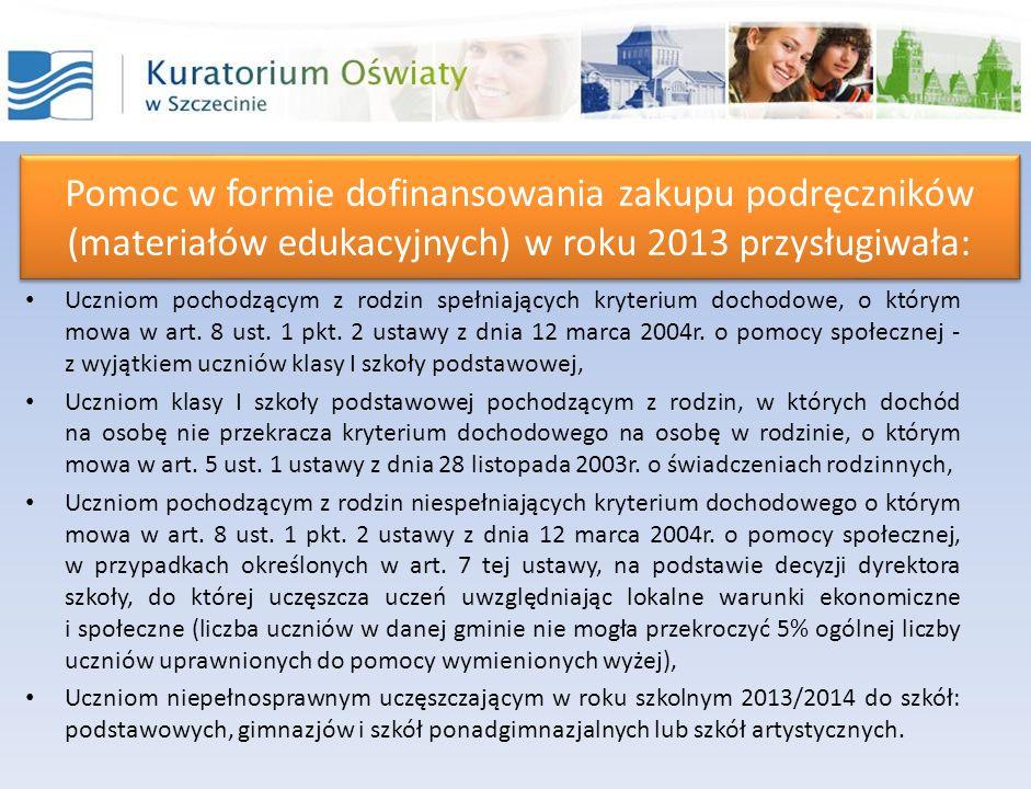 Pomoc w formie dofinansowania zakupu podręczników (materiałów edukacyjnych) w roku 2013 przysługiwała: