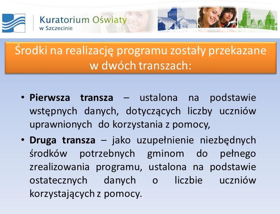 Środki na realizację programu zostały przekazane w dwóch transzach: