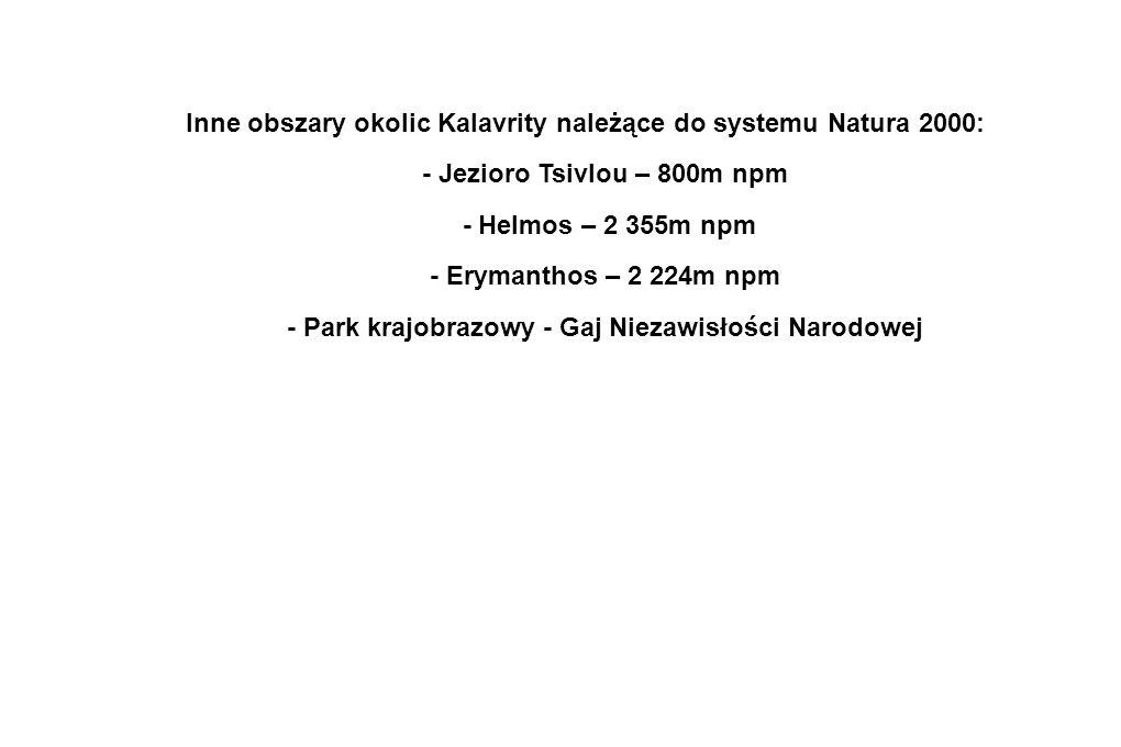 Inne obszary okolic Kalavrity należące do systemu Natura 2000: