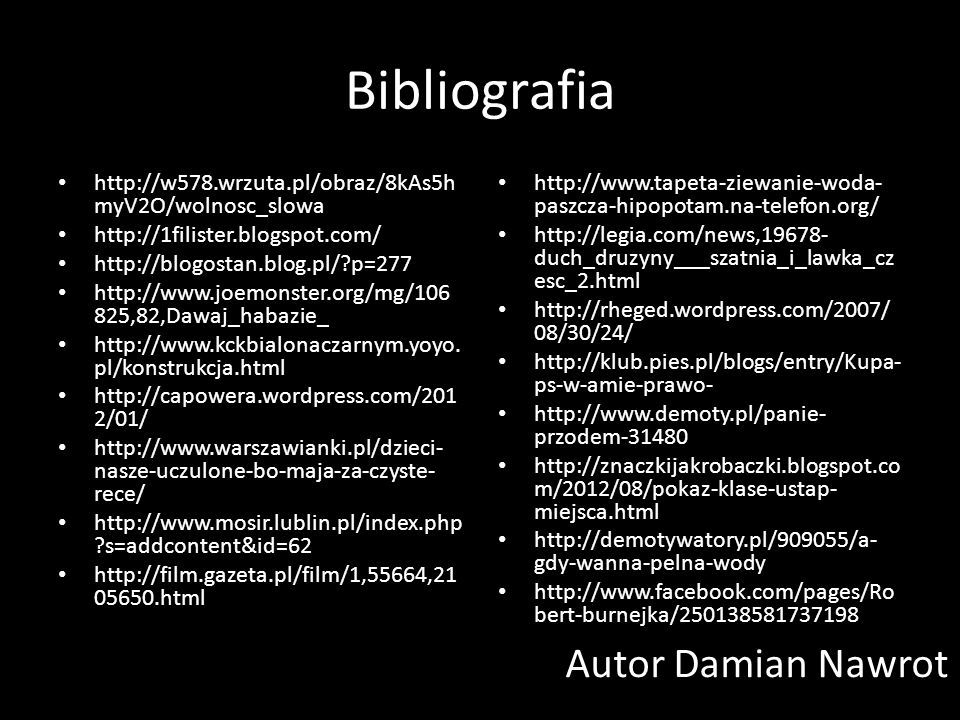 Bibliografia Autor Damian Nawrot