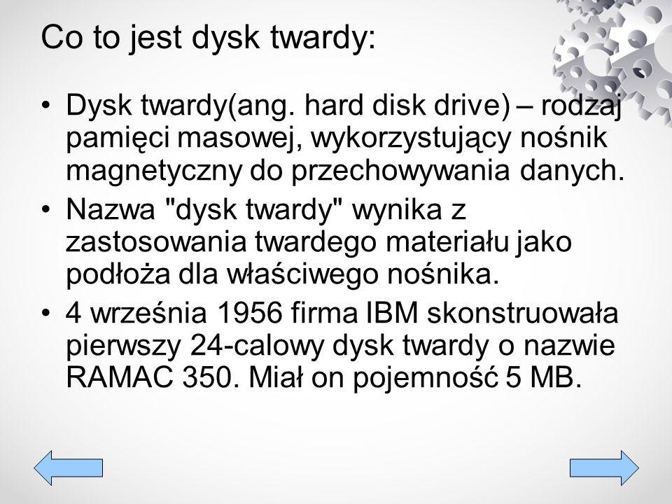 Co to jest dysk twardy: Dysk twardy(ang. hard disk drive) – rodzaj pamięci masowej, wykorzystujący nośnik magnetyczny do przechowywania danych.