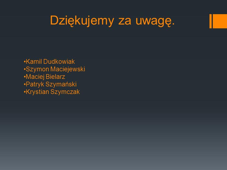 Dziękujemy za uwagę. Kamil Dudkowiak Szymon Maciejewski Maciej Bielarz