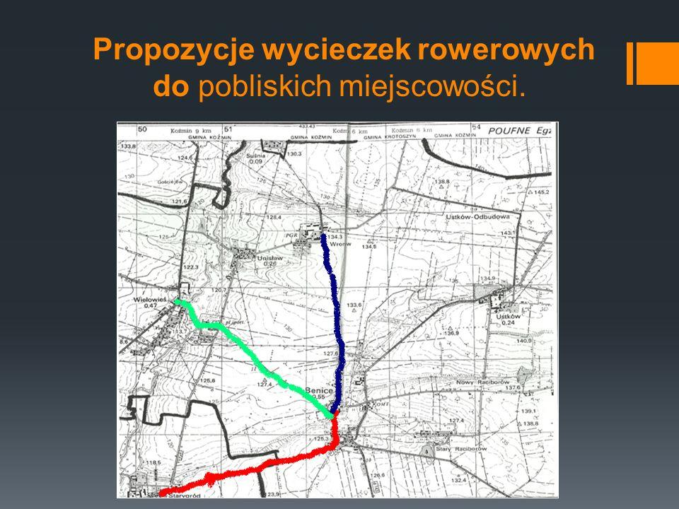 Propozycje wycieczek rowerowych do pobliskich miejscowości.