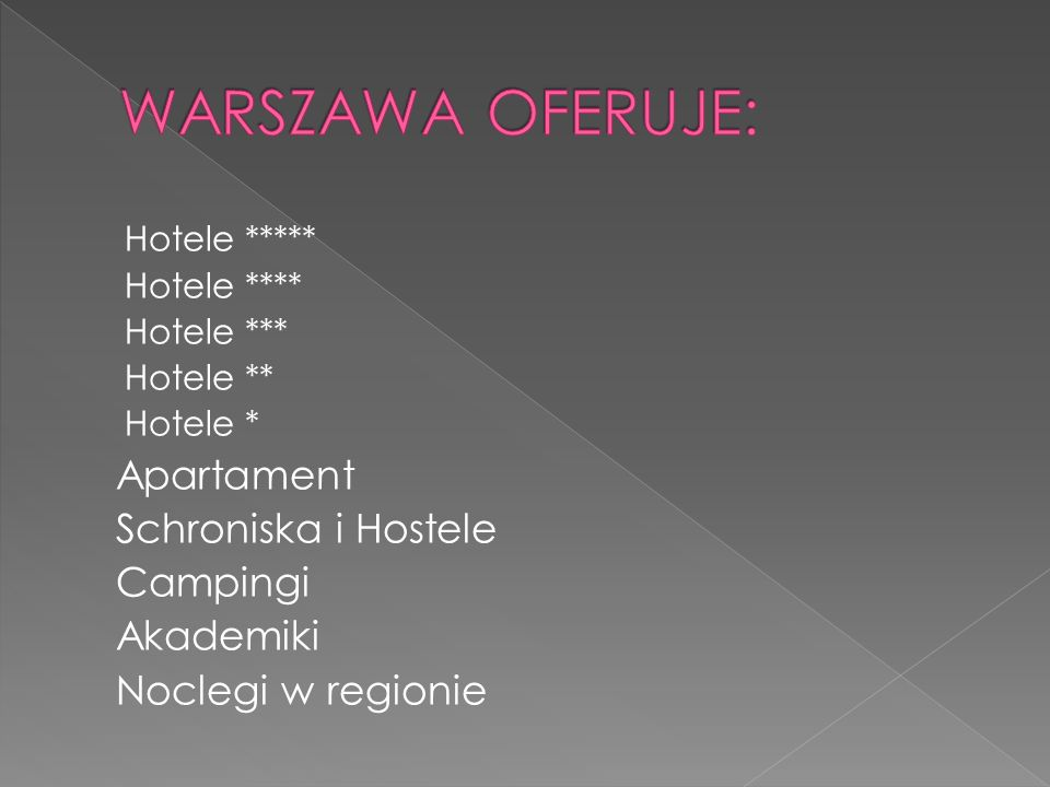 WARSZAWA OFERUJE: Apartament Schroniska i Hostele Campingi Akademiki