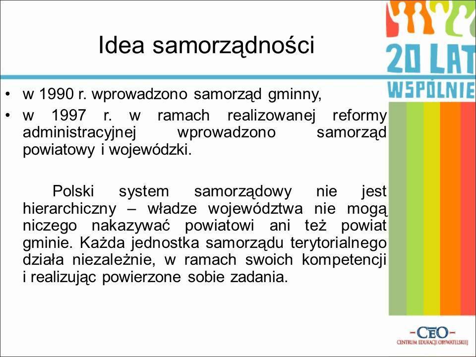 Idea samorządności w 1990 r. wprowadzono samorząd gminny,