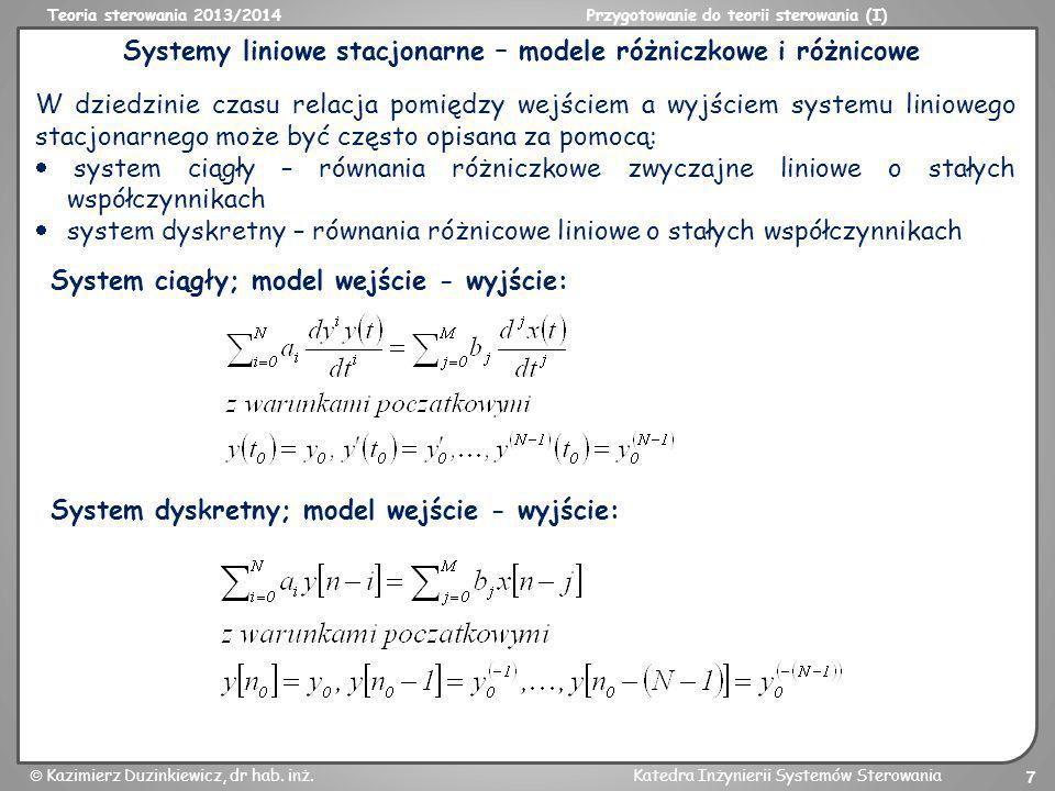 Systemy liniowe stacjonarne – modele różniczkowe i różnicowe
