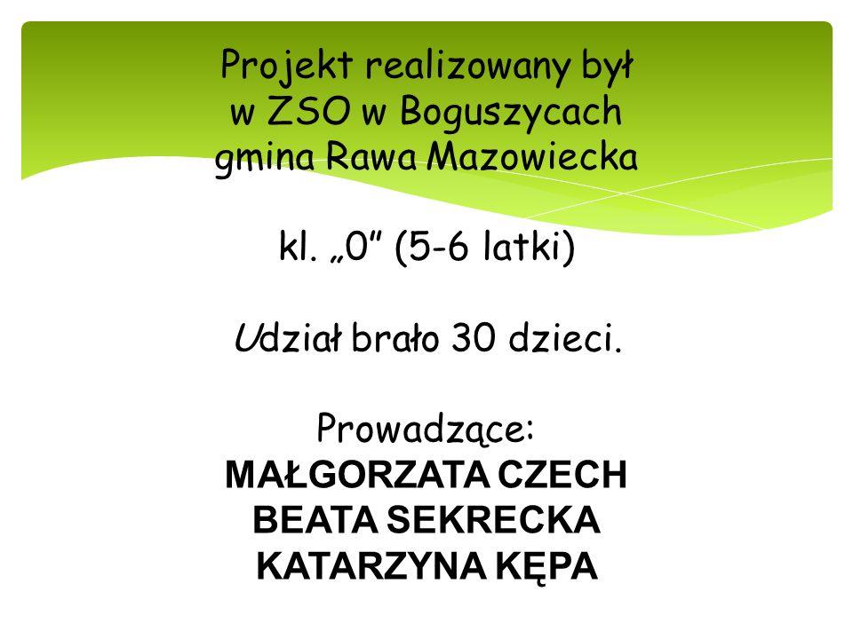 Projekt realizowany był w ZSO w Boguszycach