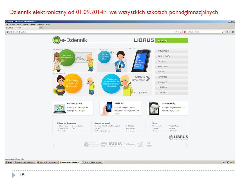 Dziennik elektroniczny od 01. 09. 2014r
