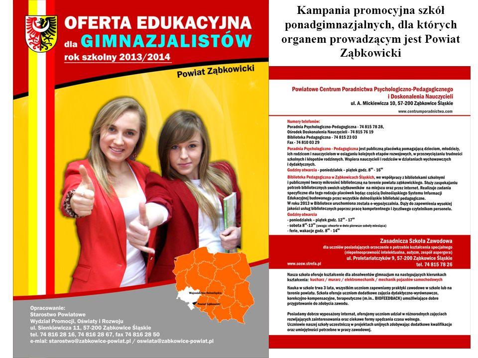 Kampania promocyjna szkół ponadgimnazjalnych, dla których organem prowadzącym jest Powiat Ząbkowicki
