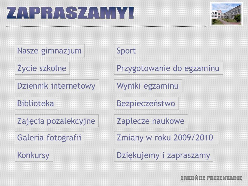 ZAPRASZAMY! ZAKOŃCZ PREZENTACJĘ Nasze gimnazjum Sport Życie szkolne